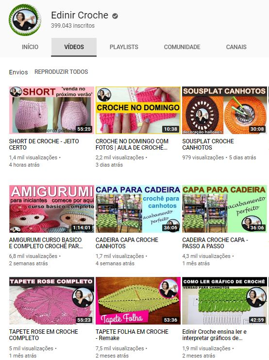 Edinir croche canal youtube