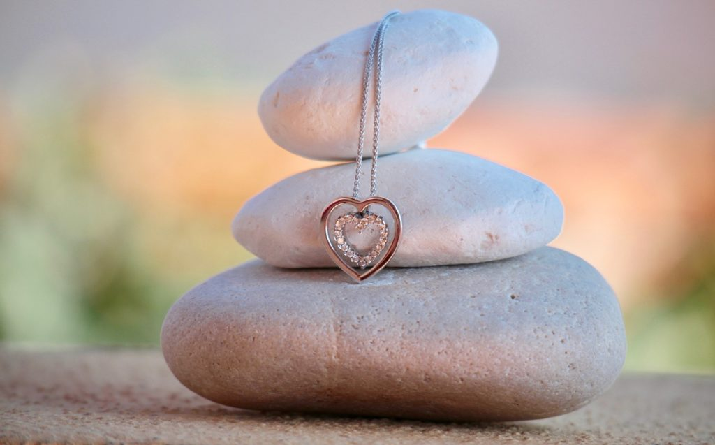 necklace, heart, stones
